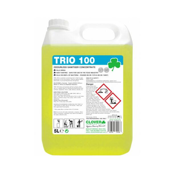 Clover Trio 100 Odourless Sanitiser Concentrate 5L from Mojjo