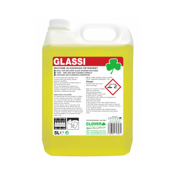 Clover Glassi Machine Glasswash Detergent 5L from Mojjo