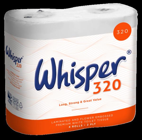 Whisper 320 sheet toilet roll 2ply